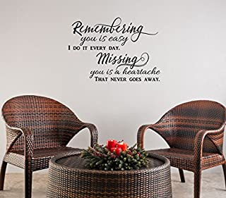Remembering You is Easy Vinyl Wall Decals Memorial Quotes 23x16-Inch Black