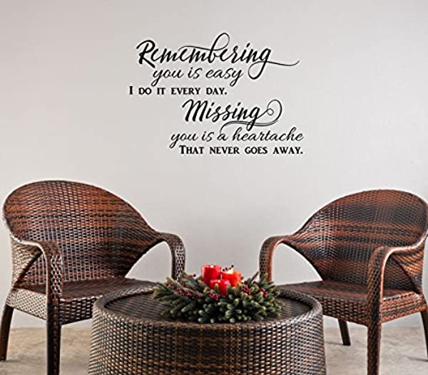 Remembering You Is Easy Vinyl Wall Decals Memorial Quotes 23x16 Inch Black