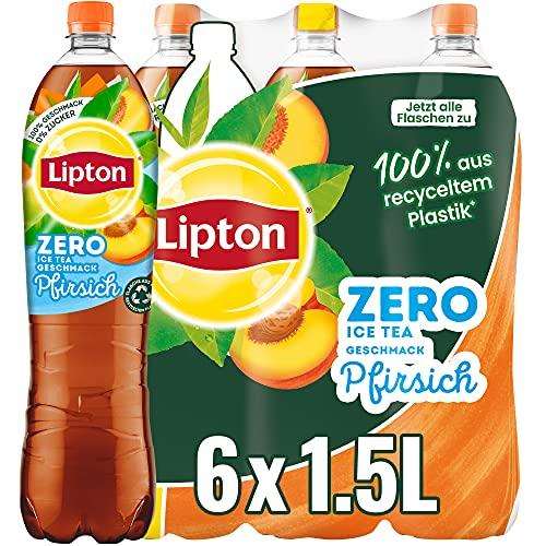 LIPTON ICE TEA Zero Peach, Zuckerfreier Eistee mit Pfirsich Geschmack EINWEG (6 x 1.5l)
