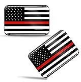 Biomar Labs® 2 x Aufkleber 3D Gel Silikon Stickers USA Amerika Thin Red Line Flag America Dünne Rote Linie Flagge Fahne Auto Motorrad Fahrrad Fenster Tür PC Handy Tablet Laptop F 45