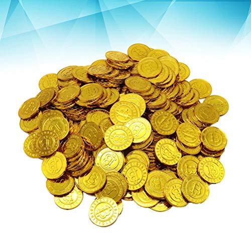 NUOBESTY 100 Monedas de Oro Falsas Piratas Brillantes,plástico Bitcoin Juegos Juegos Juegos fichas Monedas Juguetes Fiestas de niños Favoritos