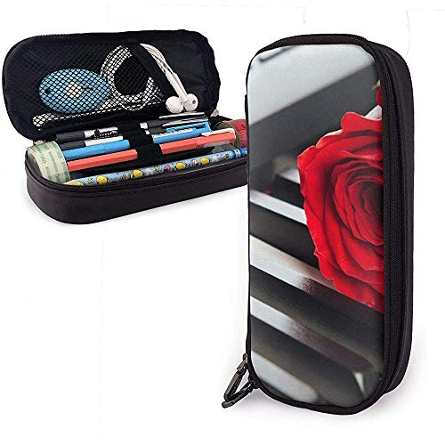Federmäppchen Red Rose Piano PU Ledertasche Aufbewahrungstaschen Portable Pencil Bag Zipper Wallets
