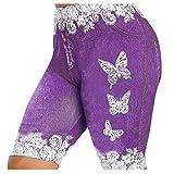 Womens Stretchy Fake Denim Shorts Knee Length Butterfly Print Bermuda Short Jeans Plus Size Leggings