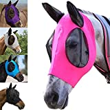 Máscara de mosca de caballo con malla ojos y orejas de tela transpirable suave elasticidad caballo mosca cubierta de red protección UV (morado)
