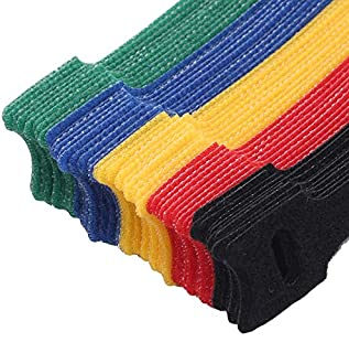 MAODING 50個/ Packaget型のバックツーバックソリッドカラーのナイロンベルクロケーブルタイワイヤーとバッテリーロッドリングベルトストラップネクタイフックリング (Color : Colorful)