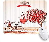 KAPANOUマウスパッド Red Love Heart Tree自転車 ゲーミング オフィス最適 高級感 おしゃれ 防水 耐久性が良い 滑り止めゴム底 ゲーミングなど適用 マウス 用ノートブックコンピュータマウスマット