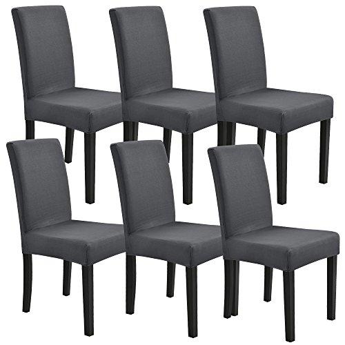[neu.haus] Stuhlhusse 6er-Set 42-53 cm Dunkelgrau Maschinenwaschbar Schonbezug Stuhlbezug Stuhlüberzug Stretch