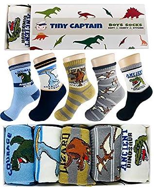 Tiny Captain Boy Dinosaur Socks 4-7 Year Old Boys Crew Cotton Sock Perfect Age 5 Gift Set (Medium, Blue and Grey)