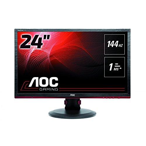 AOC Gaming G2460PF - 24 Zoll FHD Monitor, 144 Hz, 1ms, FreeSync Premium (1920x1080, HDMI, DisplayPort, USB Hub) schwarz/rot