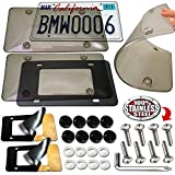 Aootf License Plate Covers Clear - 2 Pack Unbreakable Tinted Smoked Black Bubble License Plate Protector and Stainless Steel Plate Screws,Black Caps & Backed Foam Anti-Rattle Pads