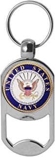 US Navy Crest Dog Tag Bottle Opener Military Keychain 1-1/8 Inch by 2 Inches