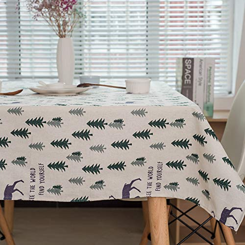 Home\'s Tischdecke,Nordic Elch Baumwolle Und Leinen Tischdecke,Weihnachtsbaumdekoration Tischdecke,SchmutzabweisendenUndSchmutzabweisend,Geeignet Für Innen- Und Außen140X180CM