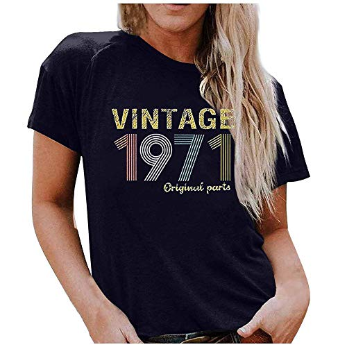 T-Shirt 50Th Birthday Gift T Shirt For Women Short Sleeve Letter Print Parts tee Oversize Apply To Daily Use Exercise Running Cycling Gym Etc-Navy_Blue_XXXL_Style