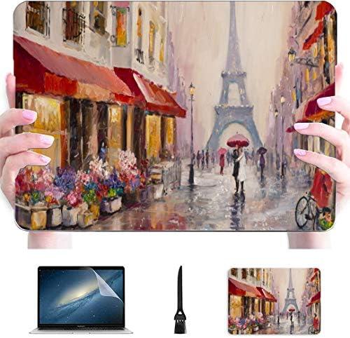 Macbook 15 Case Originele Olieverfschilderij Eiffeltoren Op Canvas Plastic Hard Shell Compatibel Mac Mac Laptop Cover Bescherming Accessoires Voor Macbook Met Muismat