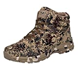 Mens Outdoor Sneakers Shoes - Warm Wear Resistant Non-Slip Desert Camouflage Military Boots for Hiking Trekking (Gray, US:10)