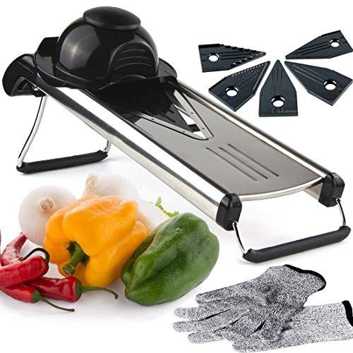 Verstellbarer Gemüseschneider und Pommes Frites Cutter Food Slicer Gemüse Julienne Dicke scharfe Edelstahlklingen mit Klingenschutz