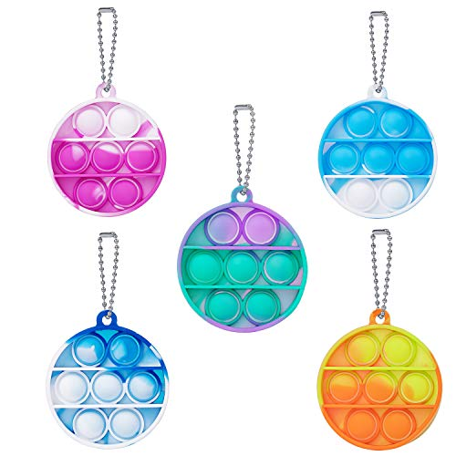 5 Pcs Simple Fidget Toy Pop Fidget Toy Mini Stress Relief Hand Toys Keychain Toy Push Pop Bubble Wrap Pop Anxiety Stress Reliever Office Desk Toy for Kids Adults (Round)