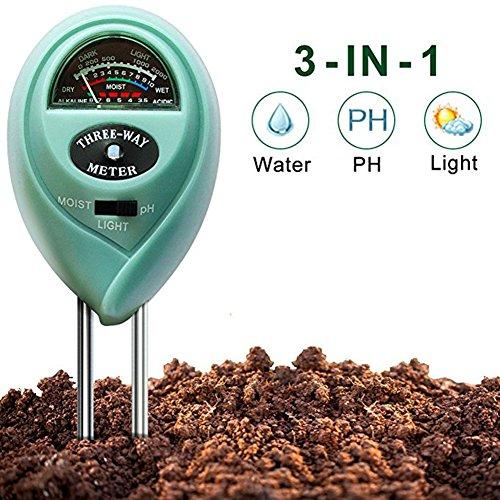 Kylewo 3-in-1 bodemtester, bodemvochtigheidsmeter, grondvochtigheidsmeter, bodem, pH-waarde, temperatuur luchtvochtigheid, zonlicht, meetinstrument, lichtsterkte meter voor tuin, planten