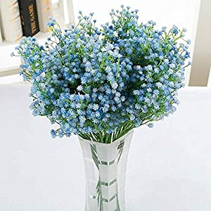 Silk Flower Arrangements Artificial and Dried Flower DIY Light Blue Artificial Flower Branch Baby's Breath Gypsophila Fake Silicone Plant for Wedding Home Hotel Party Decorations