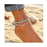YAHPERN Anklets for Women Girls Color Beads Turquoise Drop Sequin Charm Adjustable Ankle Bracelets Set Boho Multilayer Beach Foot Jewelry (Silver)