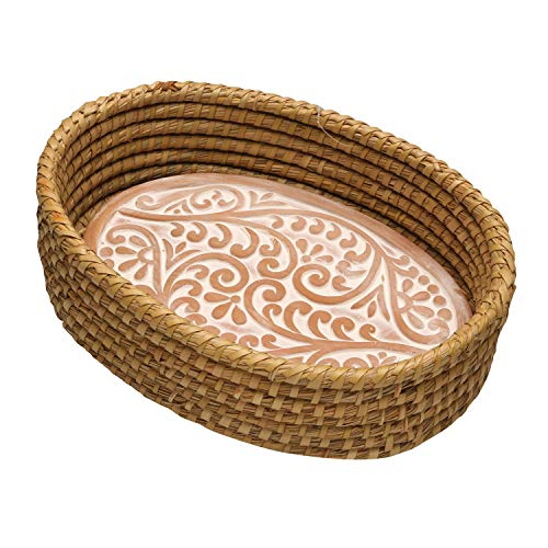 Serrv Terra Cotta Bread Warmer - Double Vine Pattern with Woven Bread Basket, Fair Trade Item