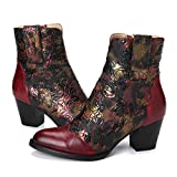 gracosy Block Heel Ankle Booties, Women's Leather Ankle Boots Bohemian Splicing Pattern Side Zipper High Block Heel Ankle Leather Shoes Red-s 6 M US