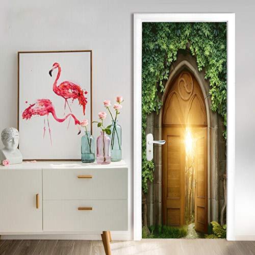 3D Türbild Tapete 88x200cm Greenfield Magic Kreativität für Schlafzimmer Küchentür Dekoration wasserdicht selbstklebendes Vinyl-Material