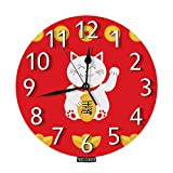 Nicokee Lucky Cat Wall Clock Lucky Cat Asian Animal Chinese Cion Culture Cute Character Cartoon Round Wall Clock Custom Clock Silent Non-Ticking for Home Office School Decor