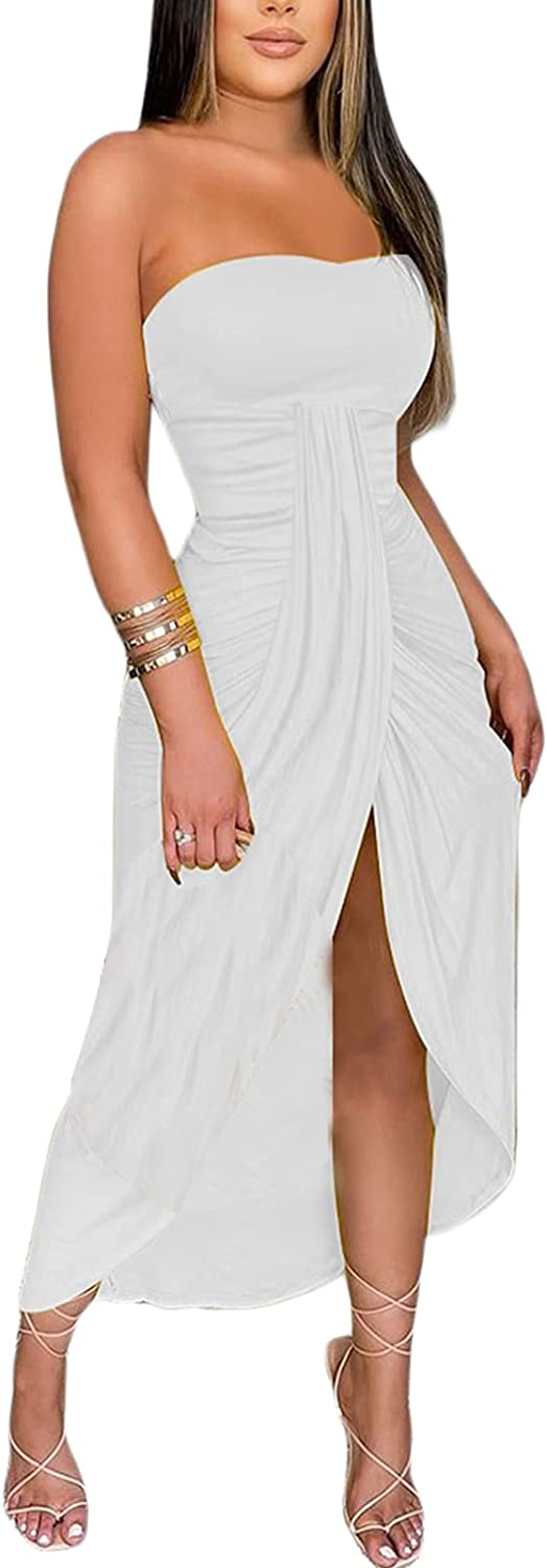 Veurshop Women's Tube Top Sexy Strapless Club Night Out Party Split Dress