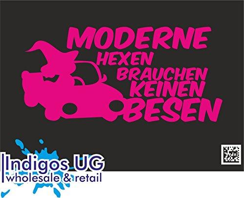 INDIGOS UG - Aufkleber Autoaufkleber - JDM Die Cut - Moderne Hexen brauchen keinen Besen - 190x90mm pink Auto Laptop Tuning Sticker Heckscheibe LKW