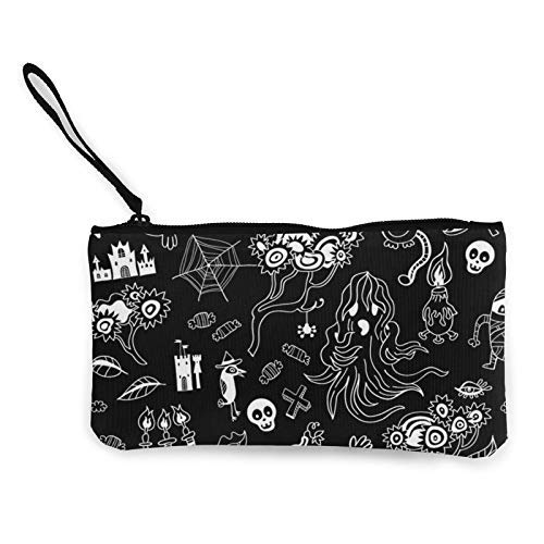 XCNGG Monochrome Halloween Doodle Kids Fashion Coin Purse Bag Canvas Small Change Pouch Multi-Functional Cellphone Bag Wallet Cosmetic Makeup Bag