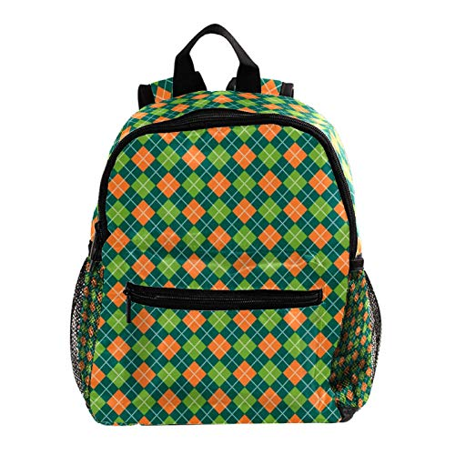 College Backpack, Travel Laptop School Backpack,Middle Student Bookbag,Vintage Casual Daypack for Boys Girl,Plaid Green St. Patrick's Day