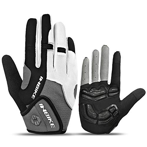 INBIKE Men's Cycling Gloves, Full Finger Gel Padded Mountain Bike Grey Large