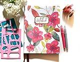 Bullet Journal XL/Cuaderno Punteados - Plantillas De Regalo - Tamaño 19x25cm- Tapa Flexible De Tela - Papel Premium 120gr (March)