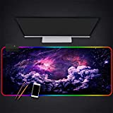 Mouse Pads Fantasy Gorgeous Purple Universe Galaxy RGB Gaming Mouse Pad Extra Large 35.4×15.7 Inches LED Backlight Mouse Mat Color C