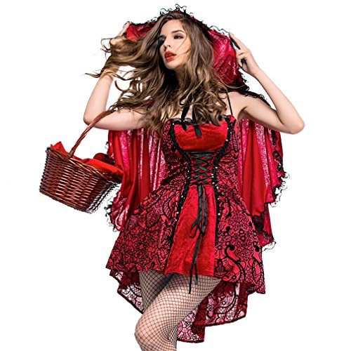 Boleyn Little Red Riding Hood Kostüm Sexy Halloween Märchenkleid für Frauen - Rot - Large