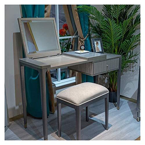 HLZY Escritorio de tocador para dormitorio decoración del hogar 2 en 1 maquillaje tocador tocador tocador tocador de madera maciza moderno aparador mesa de almacenamiento con cajones y silla familia