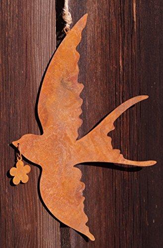 Dekostüberl Edelrost Schwalbe fliegend mit Blume 25x18cm Hänger Vogel Fensterschmuck Garten