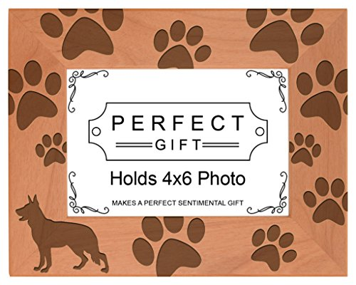 Gifts For All By Rachel Olevia Dog Lover Gift German Shepherd Paw Prints Natural Wood Engraved 4x6 Landscape Picture Frame Wood