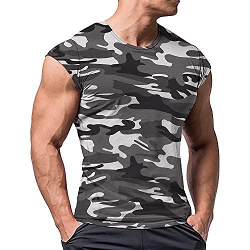 Uomo Atletico Magliette Tees Corto Manica Muscolo Taglio per Bodybuilding Allenarsi Formazione Fitness Top Equipaggio Collo Cotone Nero Camo M