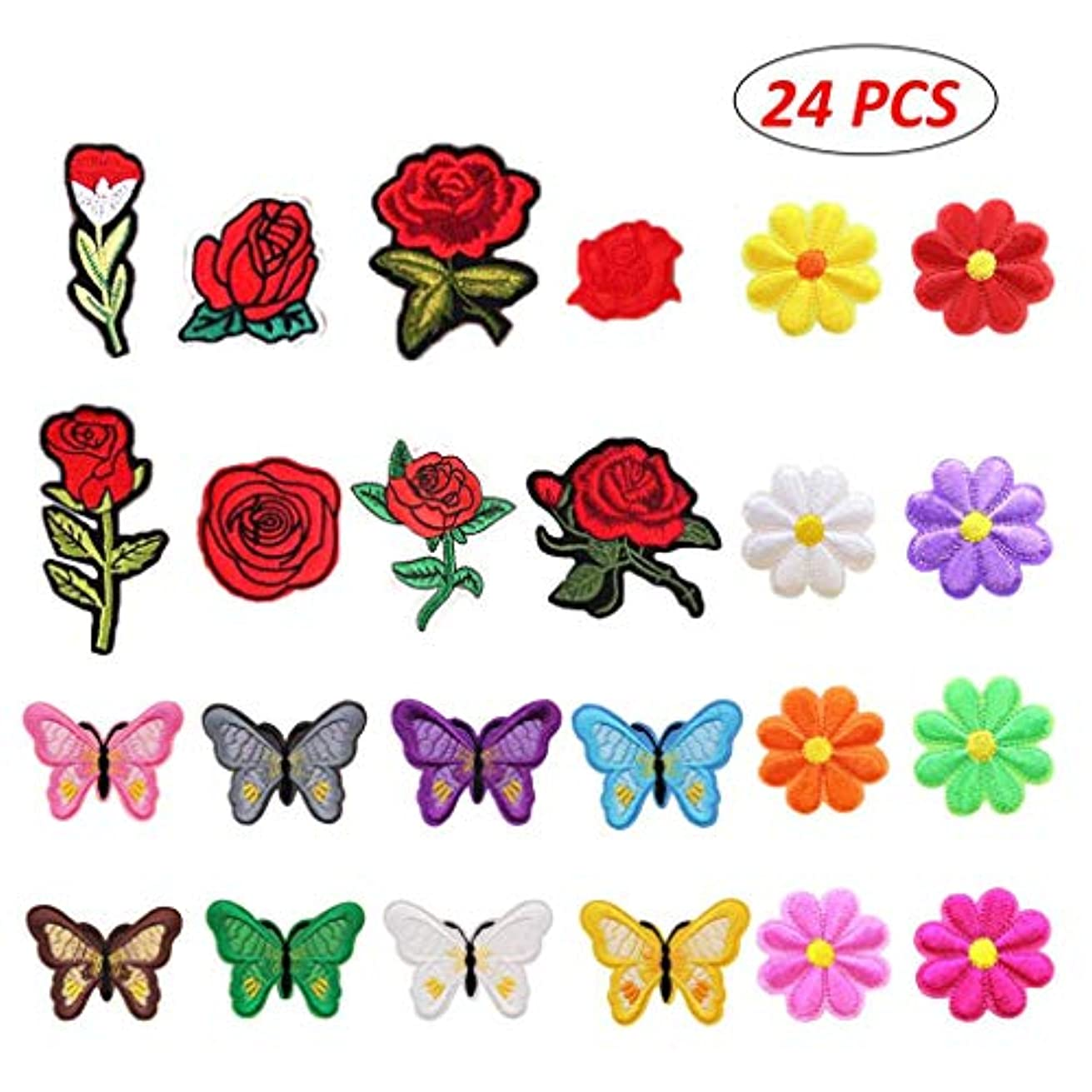 Louise Maelys 24 Pieces Flowers Butterfly Iron on Patches Embroidery Applique Patches for Arts Crafts DIY Decor, Jeans, Jackets, Clothing, Bags