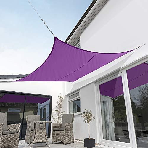 Kookaburra Toldo Vela Violeta Impermeable 160g/m² Poliéster Protección Solar 98% Anti UV para Exteriores, Patios, Jardines, Terraza, Balcón (Cuadrado 5,4m)