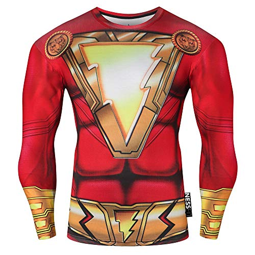 Nessfit Herren Kompressions-Oberteil, langärmelig, Thermo-Sweatshirt, Laufen, Superhelden-Unterhemd L Shazam