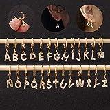 SMXGF 1 Pieza Creative Cz 26 Letras inglesas Pendientes de Tuerca de Acero Inoxidable con circonita, pequeño aro para cartílago Inicial joyería, Plateado, x