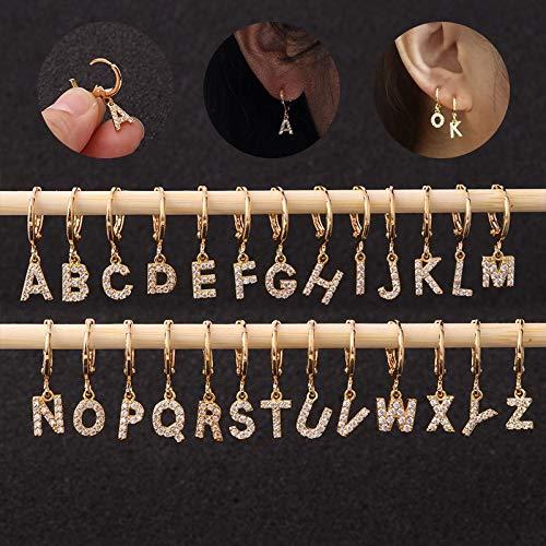 SMXGF 1pc Creative Cz 26 Engels Letters Stud Piercing oorbellen RVS Zirkoon Ear Bone Small Hoop Initial Kraakbeen Jewelry (Color : G, Size : Silver)