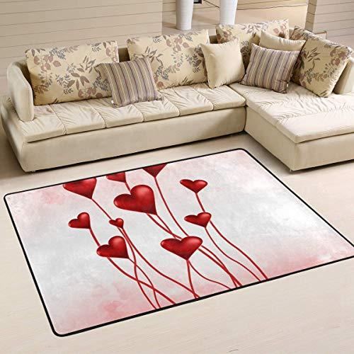 Día de San Valentín Red Love Heart Alfombras antideslizantes para sala de estar Alfombra para dormitorio Alfombra para niños Alfombra para piso Estera de yoga 60x39 pulgadas / 150x100cm RUG-610