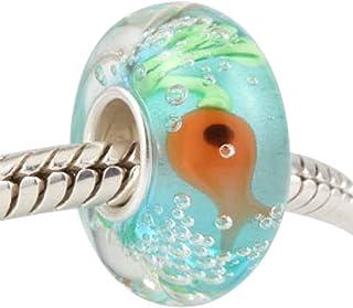 Ocean Charm Small Fish Charm 925 Sterling Silver Charm Animal Charm Foam Charm Murano Glass Beads Charm Fashion Bracelets ...