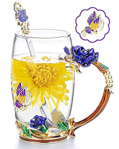 COAWG Glasteetasse, Emaille Blue Rose Blüten Schmetterlingsbecher Kristallglas Klare Tasse Blumen Blumenglas Kaffeebecher mit Handgriff für Frauen, Valentinstagsgeschenk(Blau mit löffel)…