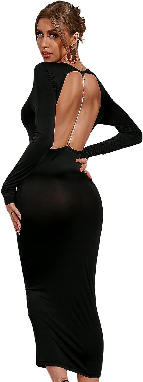 Romwe Women's Chain Backless Midi Bodycon Dress Long Sleeve Solid Party Dress