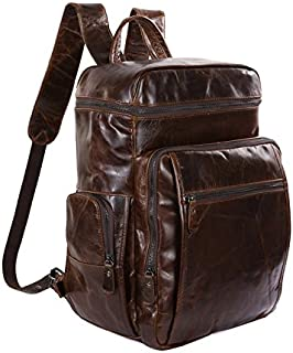Men's Backpacks Leather Backpack Men's Luggage Bags Leather Backpacks (Color : Brass, Size : L)